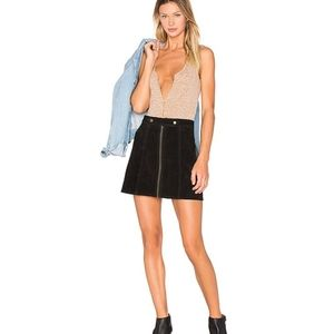UNDERSTATED LEATHER X REVOLVE SUEDE SKIRT